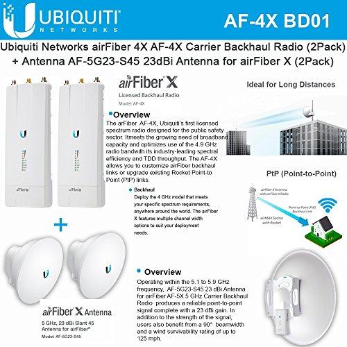 Ubiquiti airFiber AF-4X (2Pack) Backhaul Radio 4GHz 200km + Antenna AF-5G23-S45 (2Pack) 23dBi PtP by Ubiquiti Networks