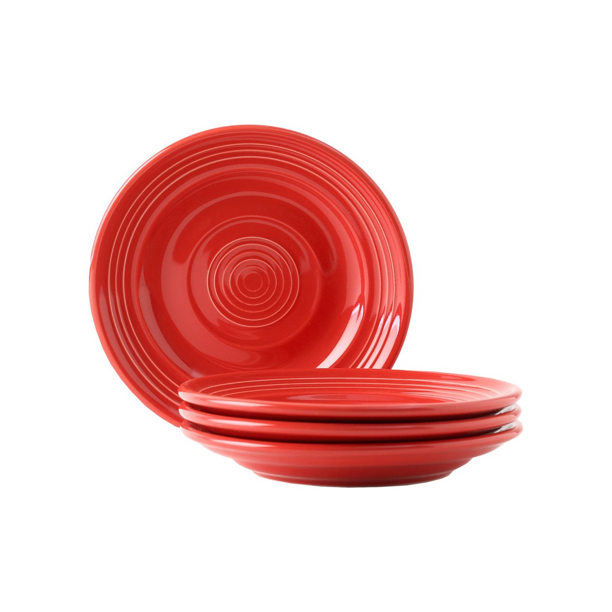 Tuxton Home Concentrix Side Plate (Set of 4), 6 1/4'', Cayenne Red; Heavy Duty; Chip Resistant; Lead and Cadmium Free; Freezer to Oven Safe up to 500F