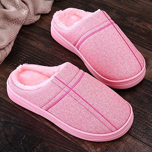 Inverno fankou paio di pantofole di cotone femmina pacchetto spessa con piscina casa impermeabile anti-skid fondo morbido caldo maschio, 36/37 , pink