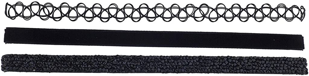 Lux Accessories Tattoo Black Velvet Suede Silver Studded Stone Choker Set (3pc)