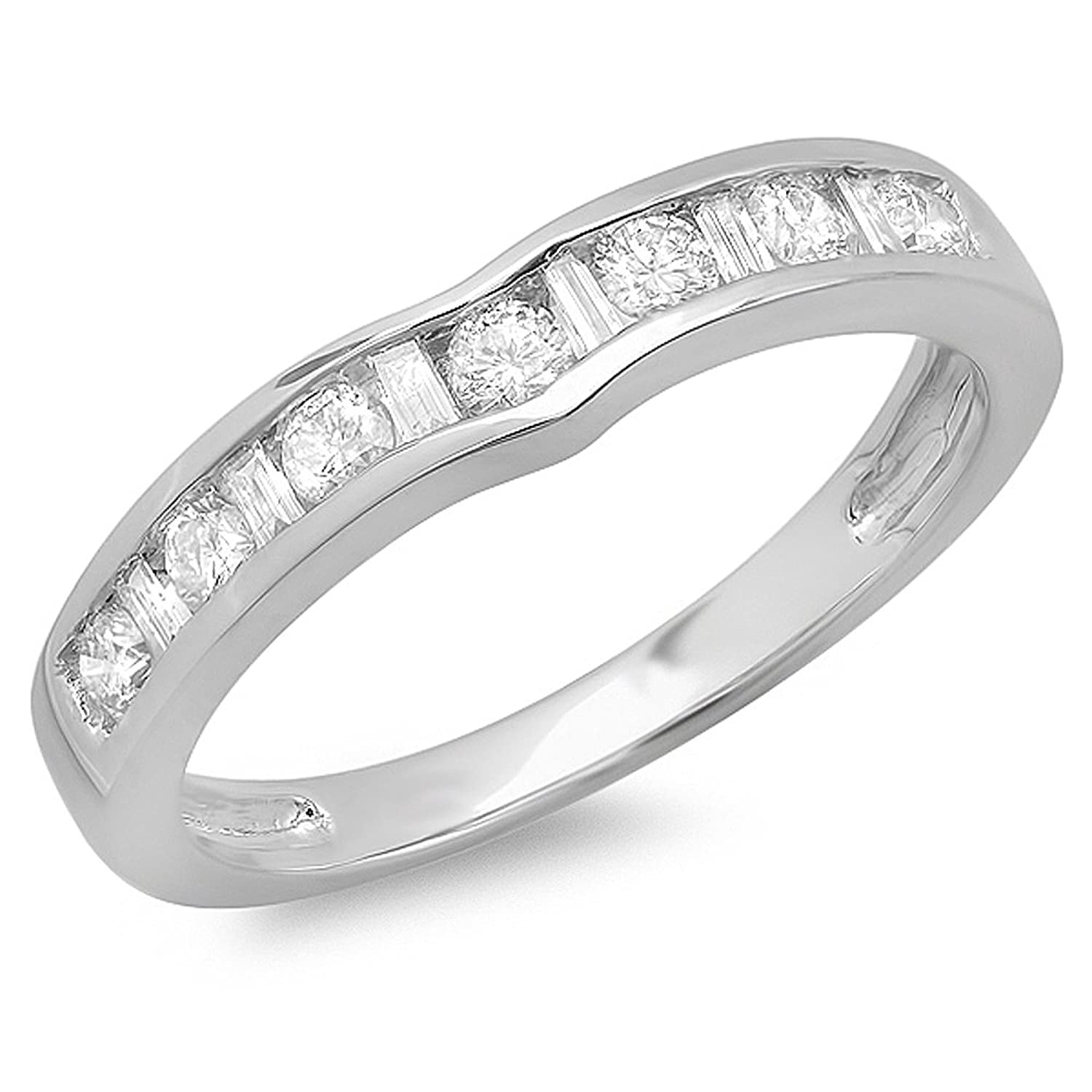 0.50 Carat (ctw) 14K White Gold Alternating Diamond Channel Set Wedding Band Stackable Ring 1/2 CT