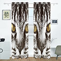 DEYYA Muzzle Cat Maine Coon Curtains Drapes Panels Darkening Blackout Grommet Room Divider for Patio Window Sliding Glass Door 55x84 Inches,2 Panels