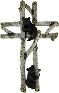 Black Bears On White Birch Branch Wood Look Wall Cross