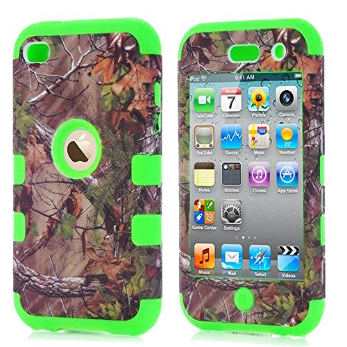 ipod 4 Camo Case, Kecko Dual Layer Defender Tough Armor Realtree Camouflage Hunting Tree Shockproof High Impact Hybrid Silicon Hard Case Cover For ipod Touch 4 4th - Tree/Leaves on the Core (Green)