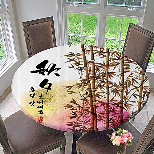 Round Tablecloth Bamboo Painting with Japanese Words in Mid Autumn Festival Giving Harvest 43.5