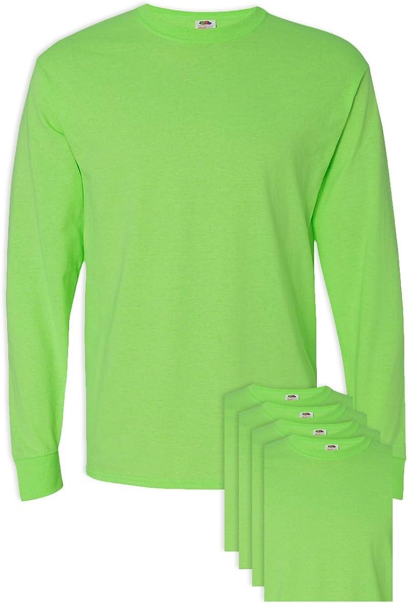 5 Pack FoTL 4930 Mens Heavy Cotton Long-Sleeve Tee XL Neon Green