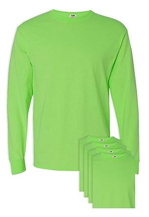 FoTL 4930 Mens Heavy Cotton Long-Sleeve Tee 2XL Neon Green 3 Pack