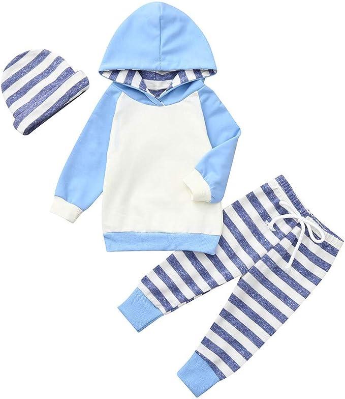 Striscia Pantaloni Jimmackey 3pcs Completini Neonato Unisex Felpa con Cappuccio Pullover Cime Fascia Bambino Vestiti