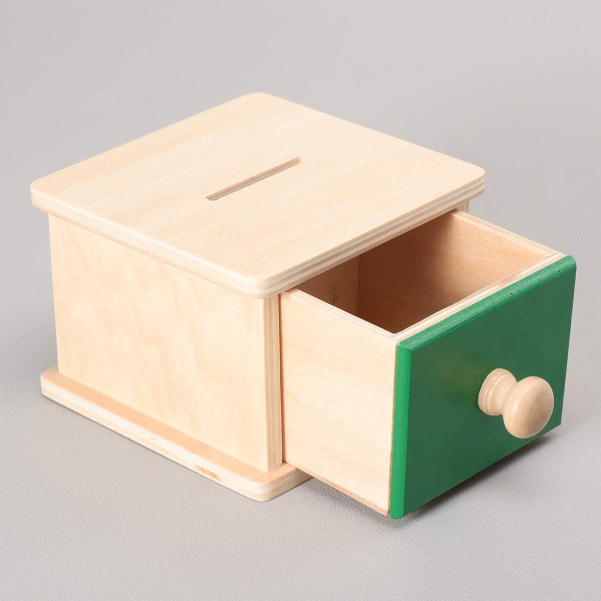 NUOBESTY Montessori S/äuglings M/ünzkassette /Übung Handauge Koordination Spielzeug mit Tablett f/ür Kleinkinder
