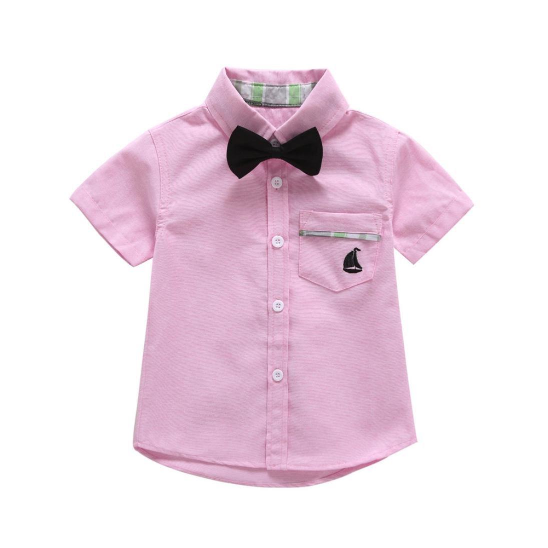 Dinlong Toddler Infant Kid Baby Boys Clothes Solid Tops T Shirt Gentlemen Blouse Din_95