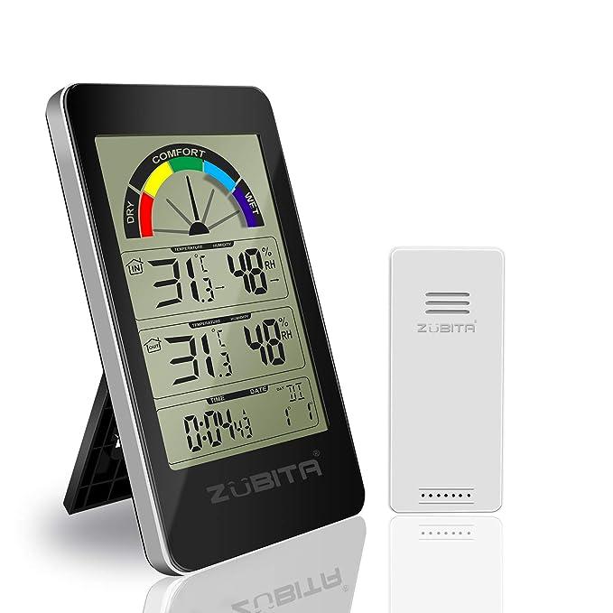Zubita Termómetro Higrometro, Termohigrómetro con Pantalla LED Digital y Sensor Inalámbrico, Temperatura, Humedad, Alarma de Temperatura, Reloj ...