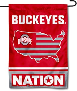 College Flags & Banners Co. Ohio State Buckeyes Garden Flag with USA Stars and Stripes Nation
