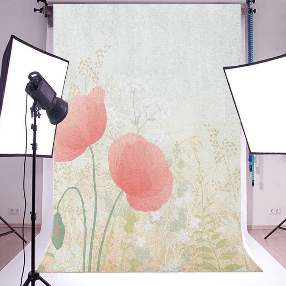 9x16 FT Pastel Vinyl Photography Backdrop,Wild Poppy Blooms with Herbs Twigs Leaves Grass Growth Nature Rural Morning Scenery Background for Baby Shower Bridal Wedding Studio Photography Pictures