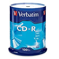 Verbatim CD-R 700MB 80 Minute 52x Recordable Disc for Data and Music - 100 Pack Spindle (FFP)