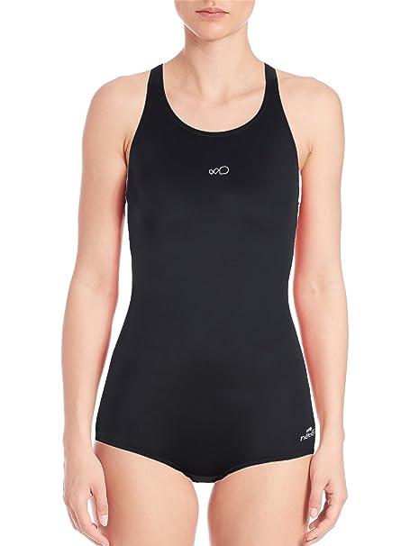 90693609ee0 Amazon.com: AUGA Women Conservative Athletic Training Racerback Shaping  Body One Piece Swimsuit Swimwear Bathing Suit Black,XXS: Clothing