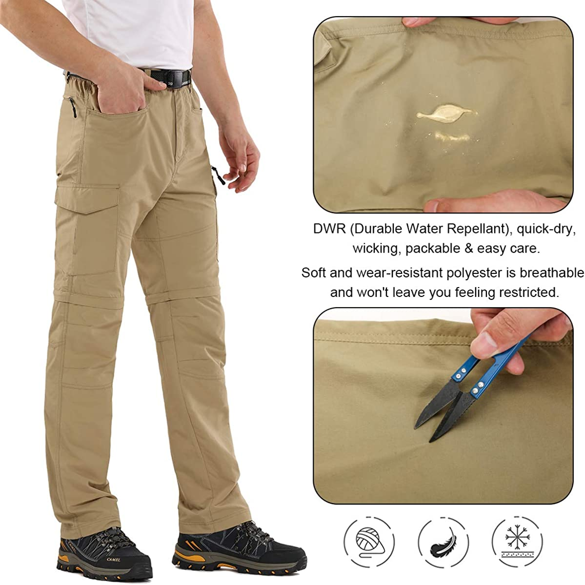 6045 Black 36 Mens Hiking Pants Zip Off Convertible Quick Dry Lightweight Outdoor Fishing Travel Safari Pants