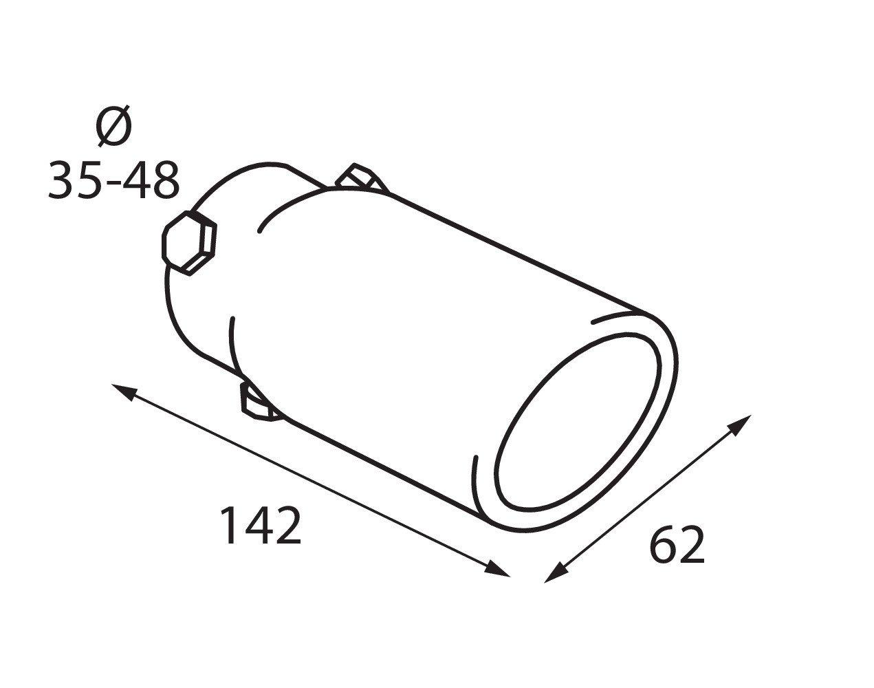 """Exhaust blowpipe /""""TS06/"""" diameter 35-47mm Abgas Blasrohr TS-06 Durchmesser 35 bis 47 mm"""