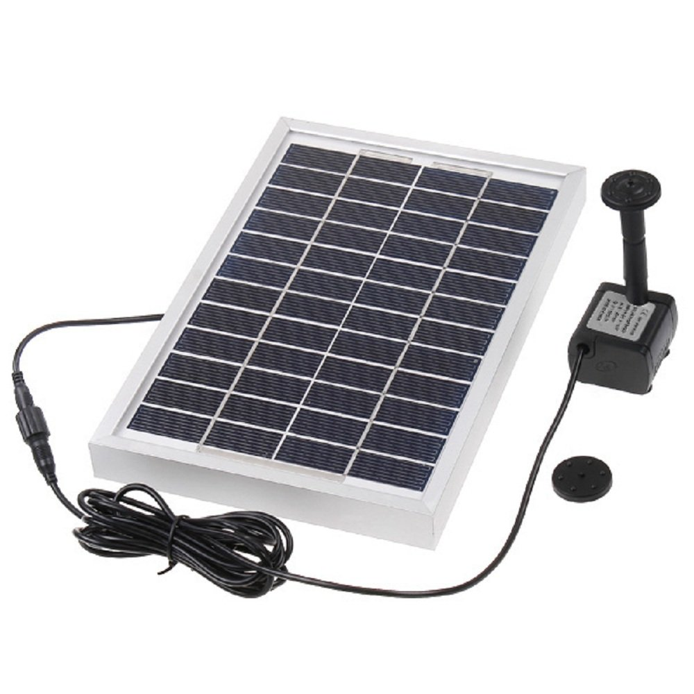 Decdeal Solar Water Pump Power Panel Kit,for Fountain Pool Garden Pond Square 380L/H 5W Anself