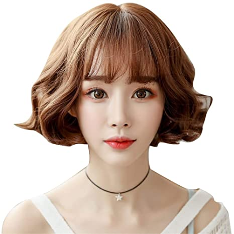 Shentianwei Wig Female Short Curly Hair Korean Fashion Bobo Head Female Short Hair Matte High Temperature Silk Hood Color Green Wood Linen Gray 26cm Amazon In Health Personal Care