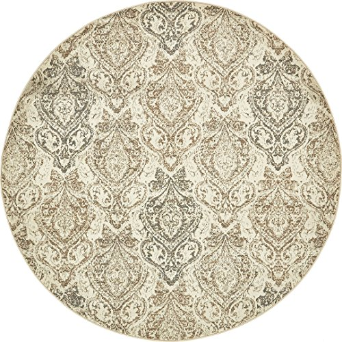 Vintage Traditional Overdyed Beige 8'-Feet Round St. Johns Collection Area rug - Living Dinning Room Bedroom Rugs and -