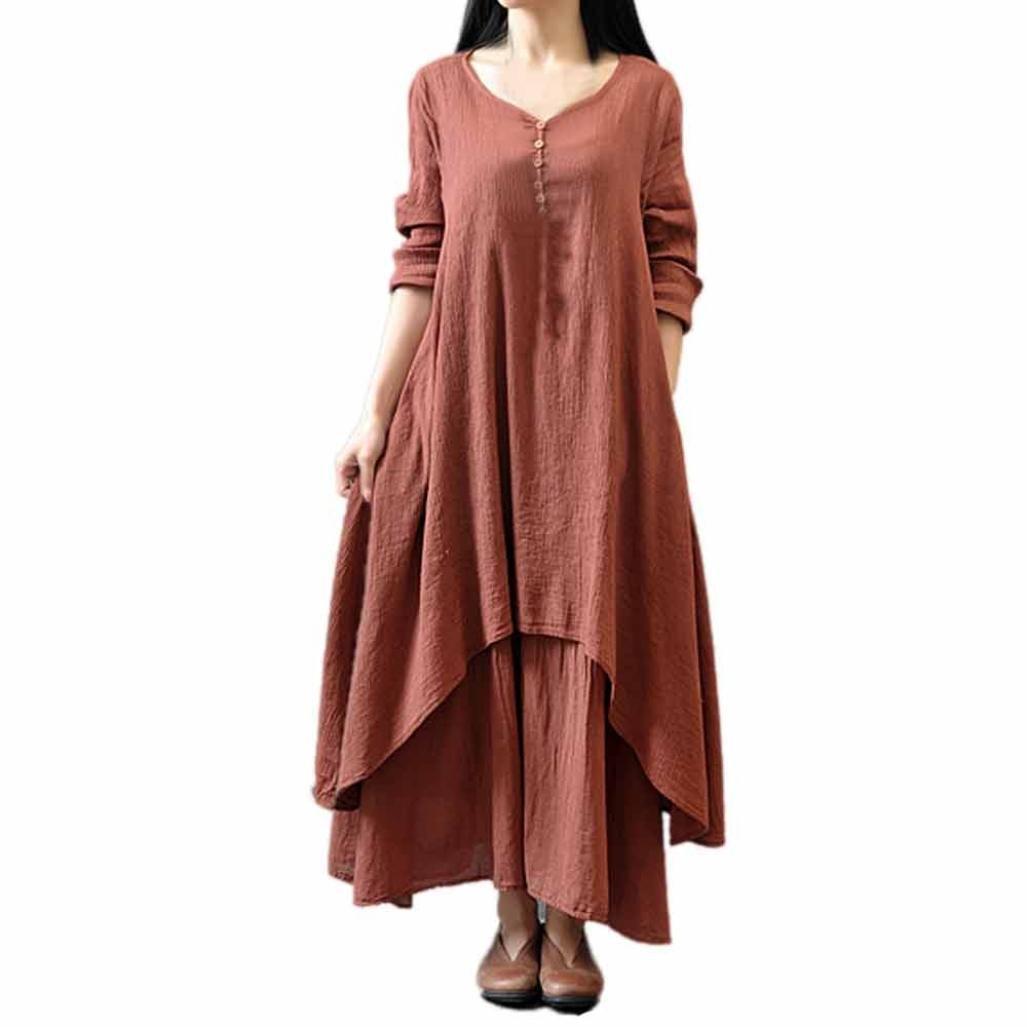 197ac32577bd FORUU Dress for Women Casual Loose Long Sleeve Cotton Linen Boho Long Party  Maxi at Amazon Women s Clothing store