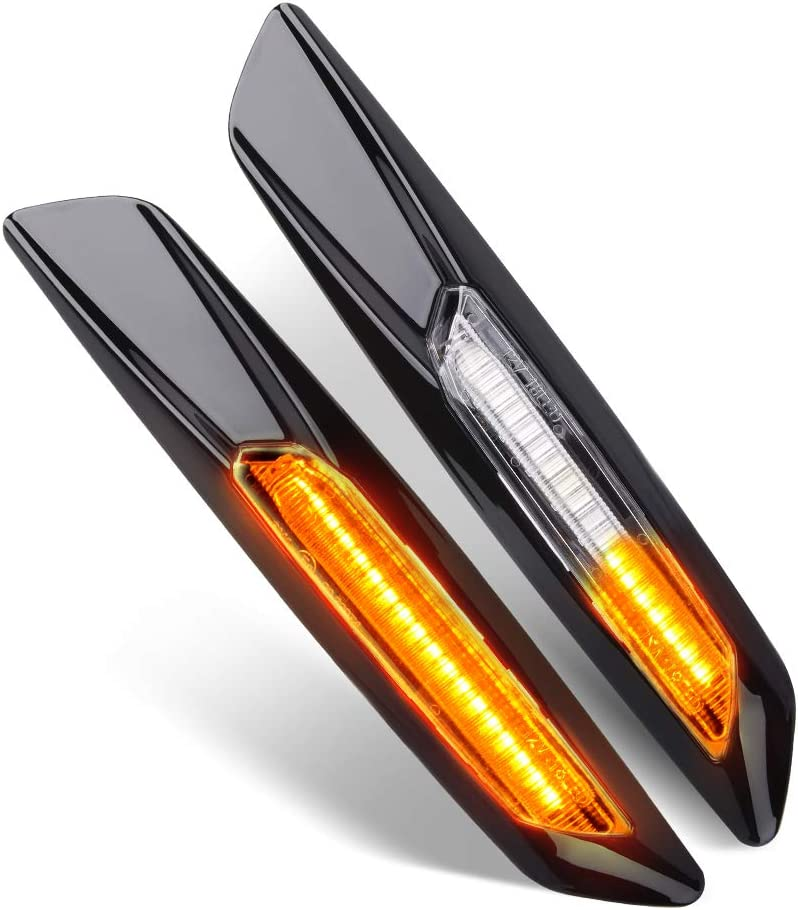 Pack of 2 Car Work Box Smoke Lens Sequential Side Marker Lamps For BMW 1 3 5 Series E81 E82 E87 E88 E90 E91 E92 E93 E60 E61 Amber LED Side Marker Turn Signal Light