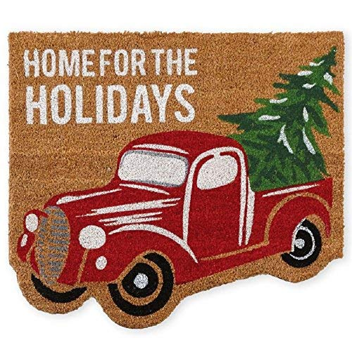 "Mud Pie Red Christmas Truck Holiday Front Doormat 27"" x 24"" Brown Green"