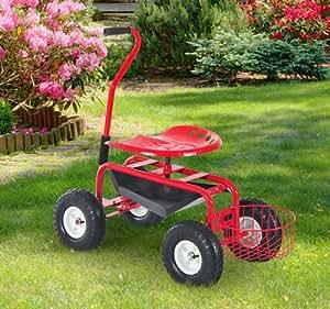 Nueva mtn-g jardín carrito con ruedas rueda de trabajo Asiento Patio herramienta Jardinería Plantar taburete W/asas