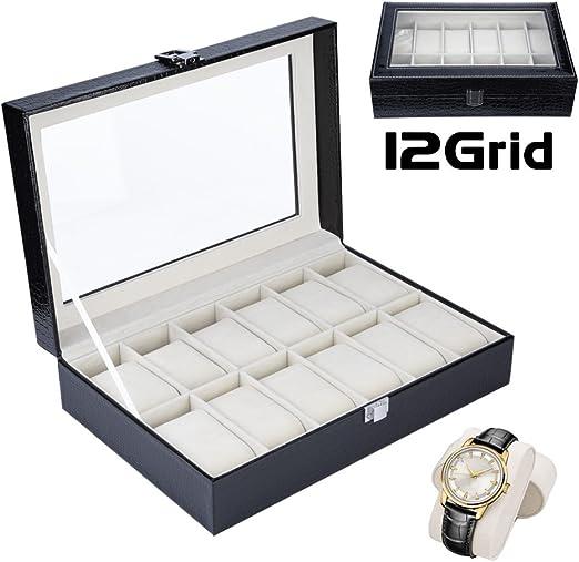 Caja de Reloj con 12 Compartimentos para Relojes y Joyería Caja Organizador Oficina Escritorio Armario Negro Caja de Reloj de Piel PU con Terciopelo Suave Regalo para Hombre y Mujer(12 Ranuras)(Negro): Amazon.es: