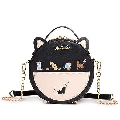 643d4006e6fd FAIRYSAN Women Cute Mini Cat Design Round Chain Shoulder Handbag Girls  Animal Casual Leather Messenger Crossbody