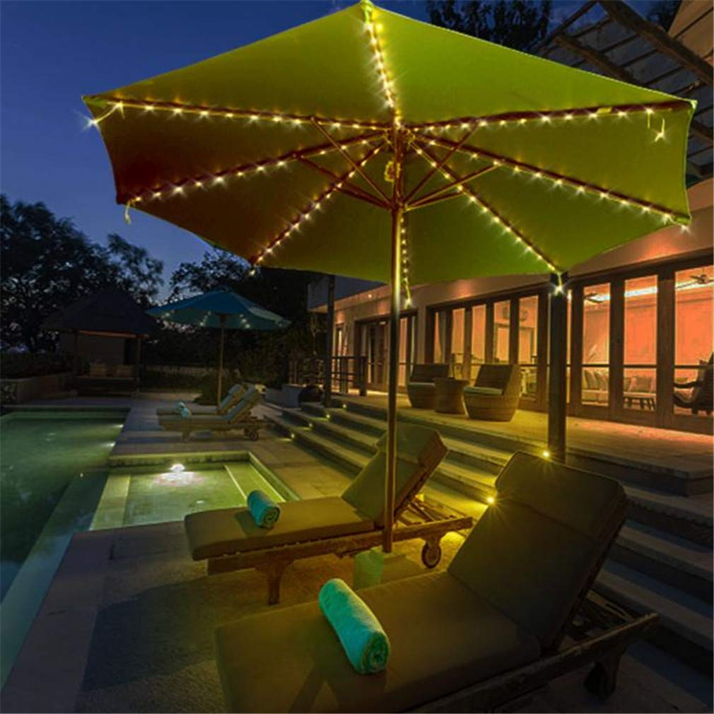 LHY LIGHT 104LED Patio Umbrella Lights Creative Waterproof Outdoor Bar Beach Balcony Courtyard Decor Lighting,Blue