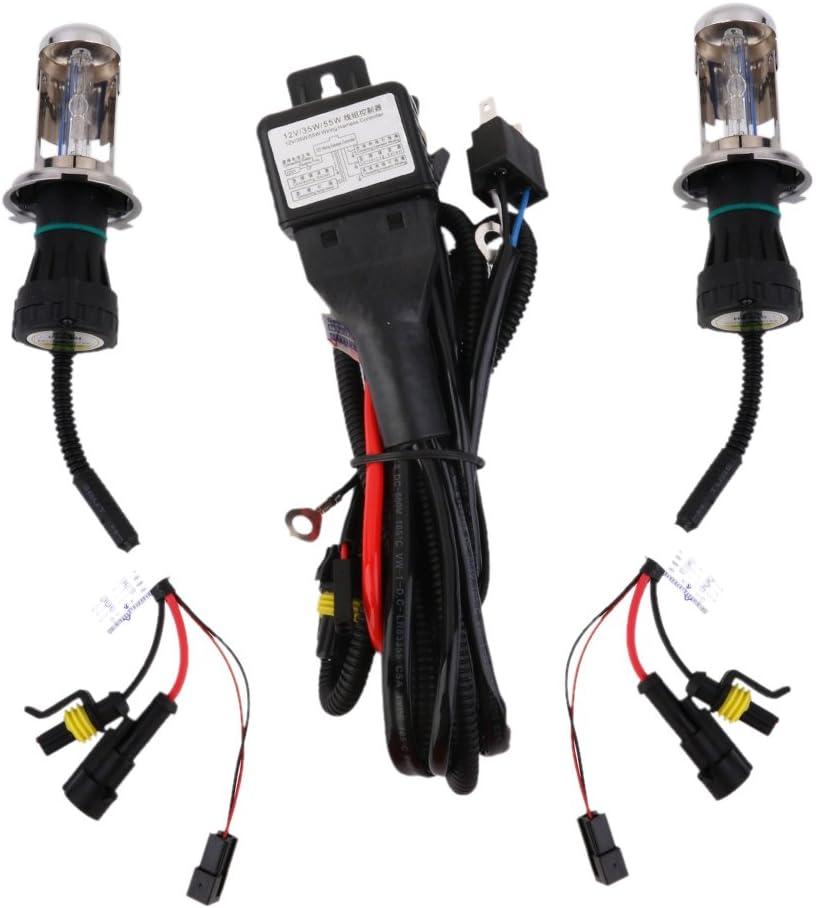 Magideal 2x Xenon HID Bombillas + relé inalámbrico Conversion de arnés de Kit H46000K 12V 35W
