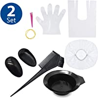 TraderPlus 2 Set Hair Dye Color Brush and Bowl Kit with Disposable Gloves Cape for Hair Tint Dying Coloring Applicator