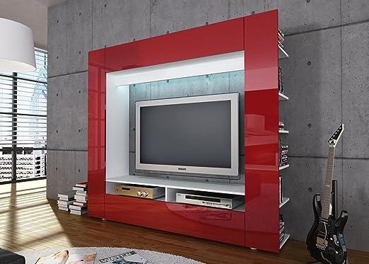 Jumbo-muebles salón/TV-pared de los medios de comunicación OLLI en blanco con frente brillante Rojo: Amazon.es: Hogar