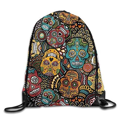 Waterproof Drawstring Backpack for Men & Women Gym School Travel Mexican Sugar Skulls -