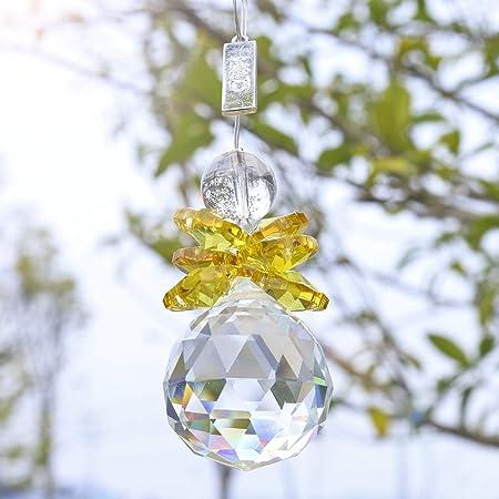 Yellow Crystal Glass Guardian Angel Chakra Suncatcher Hanging Pendant Home Decor
