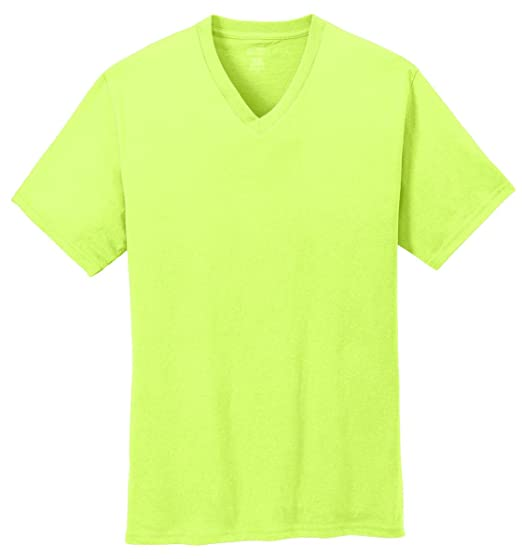 27f8f42dfdd4 Port & Company 5.4-oz 100% Cotton V-Neck T-Shirt> Neon Yellow PC54V ...