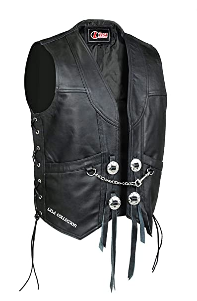 Chrome Buttons Real Leather Biker Waistcoat with Side Laces Unisex Denim Style