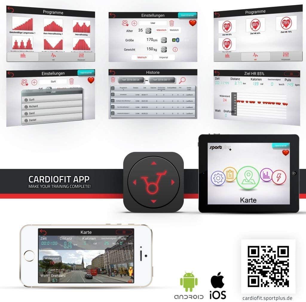 Fitness Bike Ergometer ideal f/ür Heimtraining Sicherheit gepr/üft Kinomap-App Nutzergewicht 110 kg brustgurtkompatibel 9 kg Schwungmasse SportPlus Heimtrainer Fahrrad f/ür zuhause ca