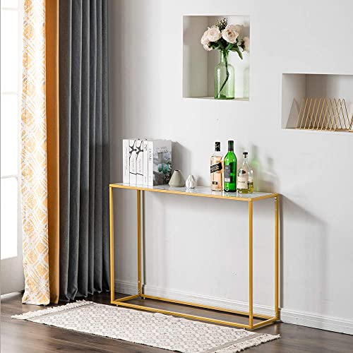 Depointer Rectangle Faux Marble Console Table-Modern Sofa Table