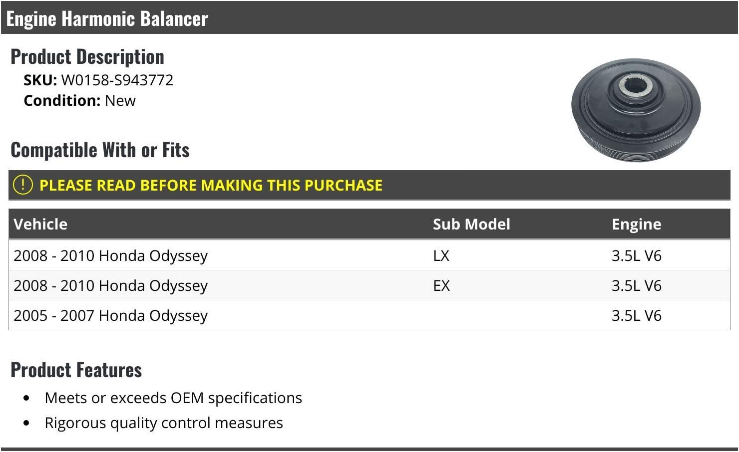 Engine Harmonic Balancer Compatible with 2005-2010 Honda Odyssey 3.5L V6