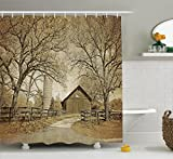 Ambesonne Farmhouse Decor Collection, American Countryside Village Monochromic Historic Vintage Scenery Picture Print, Polyester Fabric Bathroom Shower Curtain Set with Hooks, Olive Ivory Sepia