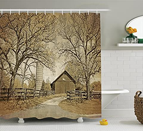 Ambesonne Farmhouse Decor Collection, American Countryside Village Monochromic Historic Vintage Scenery Picture Print, Polyester Fabric Bathroom Shower Curtain, 75 Inches Long, Olive Ivory - Sepia Photo Print