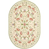 Safavieh Chelsea Collection HK330A Hand-Hooked Beige and Green Premium Wool Oval Area Rug (4'6″ x 6'6″ Oval)