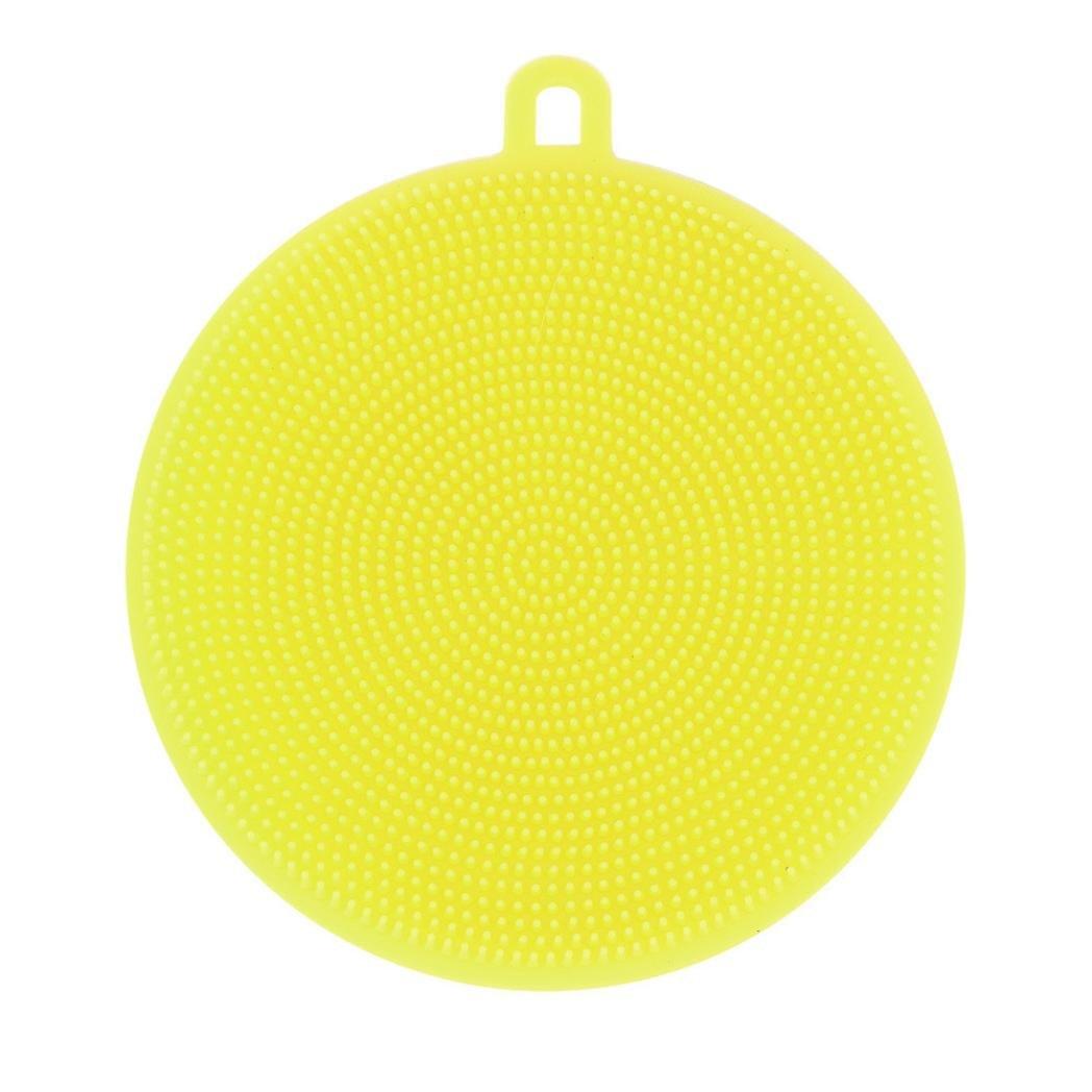 Hot ! ღ Ninasill ღ Silicone Dish Washing Sponge Scrubber Kitchen Cleaning antibacterial Tool (Yellow)