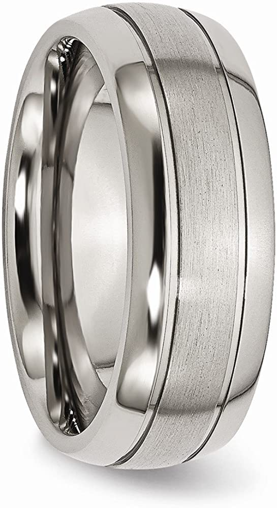 Titanium Grooved 8mm Brushed and Polished Band Size 14.5 Length Width 8