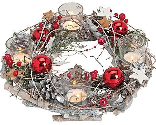 Adventskranz aus Holz rund 29x8 cm mit Gläsern als Teelichthalter & weihnachtlicher Dekoration in rot