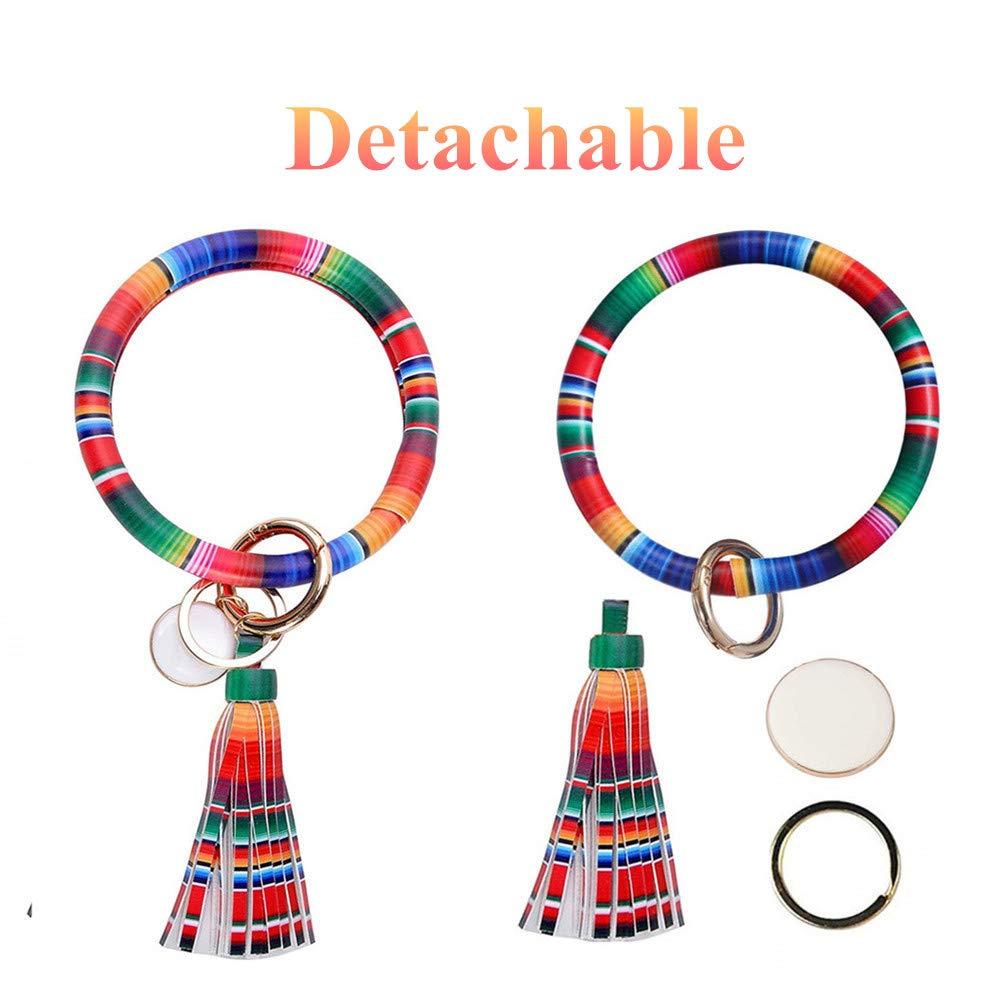 Round Keyring Bracelet Large Circle Key Ring Bangle Wristlet Women Leather Tassel Wrist Keychain
