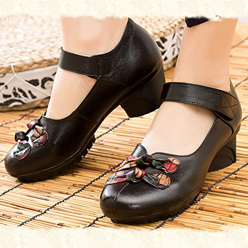 Women's Soft Real Leather Comfortable Round Toe Mid Heel Mary M Jane Shoes B07FKGGGHC 9 M Mary US|Style 2 Black 02e96c