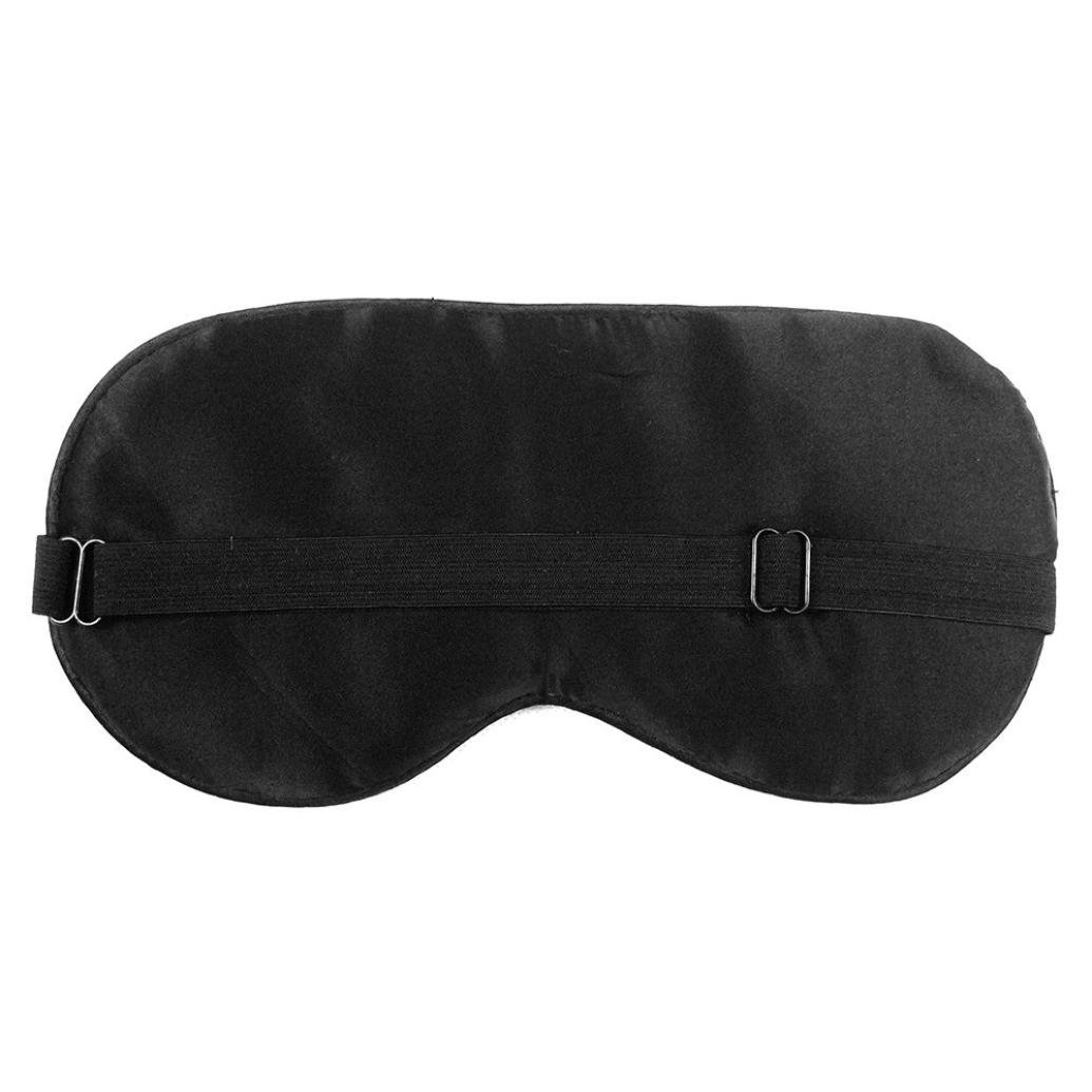 Iuhan 1PC New Pure Silk Sleep Eye Mask Padded Shade Cover Travel Relax Aid (Black) by Iuhan (Image #2)